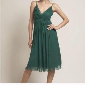 Anthropologie 100% Silk Emerald Green flowy dress